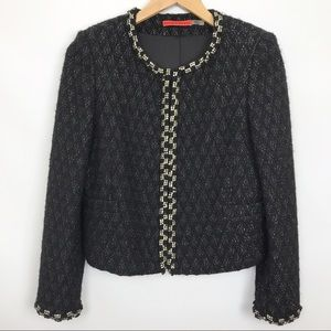 Alice + Olivia | Embellished Black Crystal Blazer